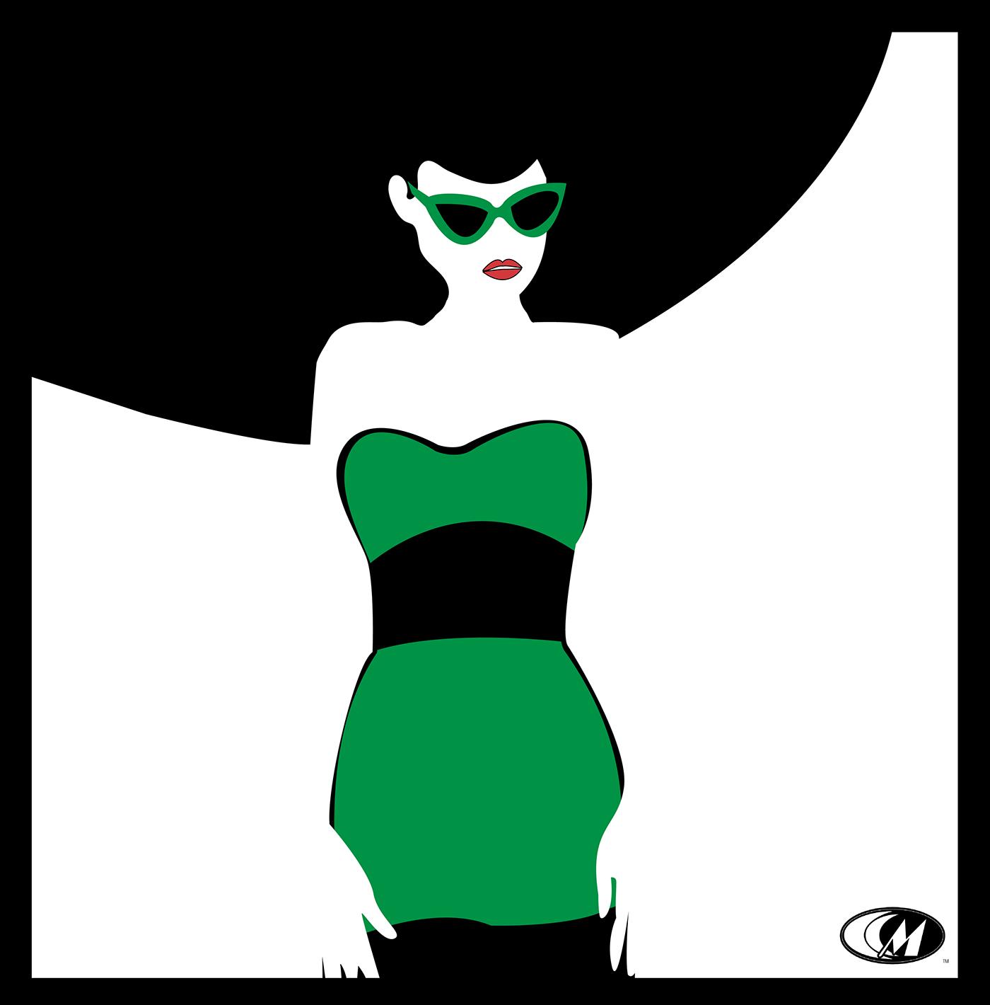 Fashion  art Sunglasses green hat dress woman