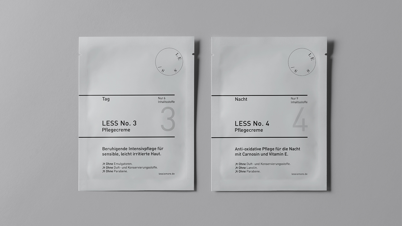 Minimal Brand Identity & Packaging: LESS Cosmetics
