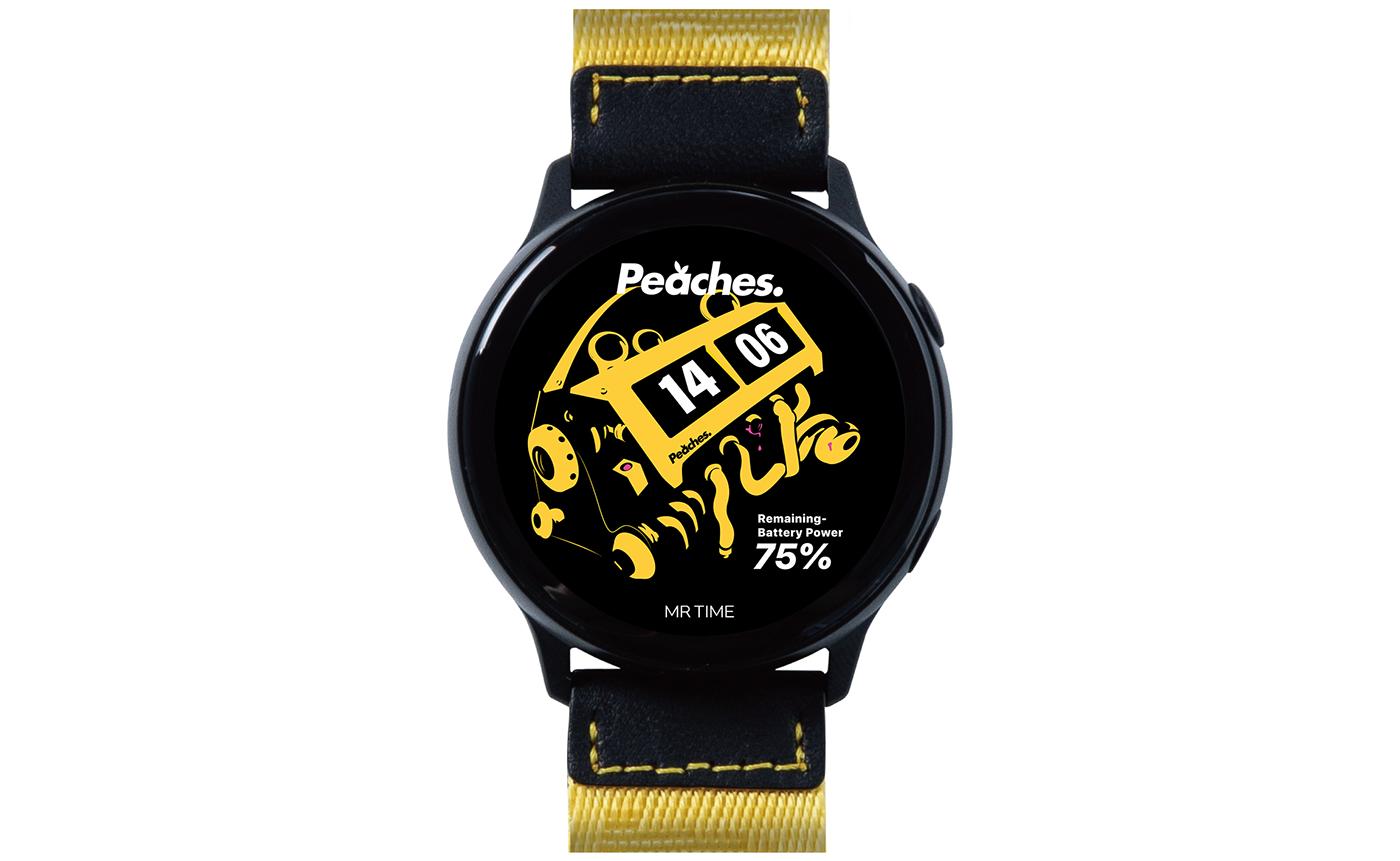 MRTIME watchface Smart watch ux UI portfolio Digital Contents Wearable peaches