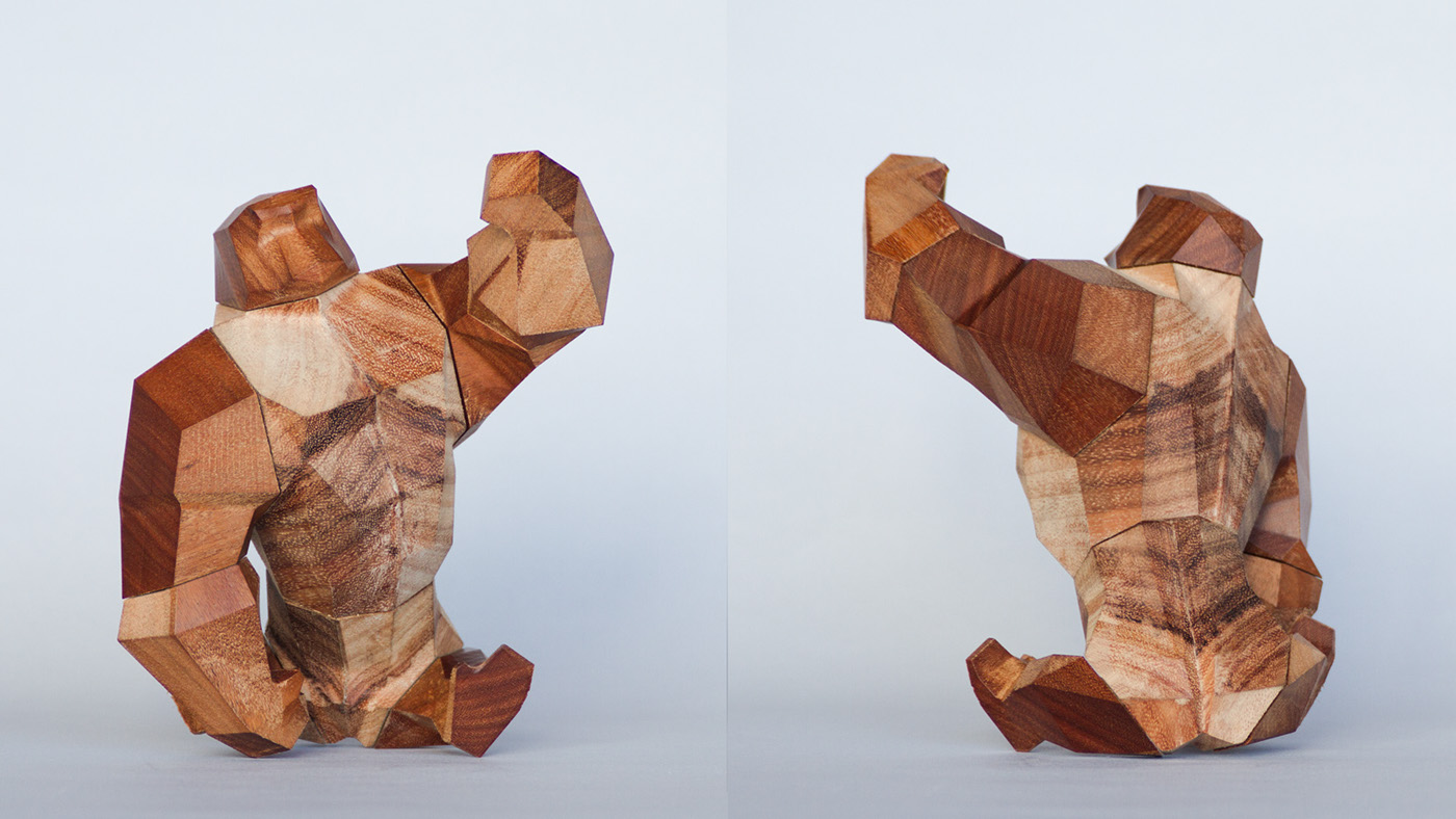 low-poly wood Poseable Figure animal art toy Simian