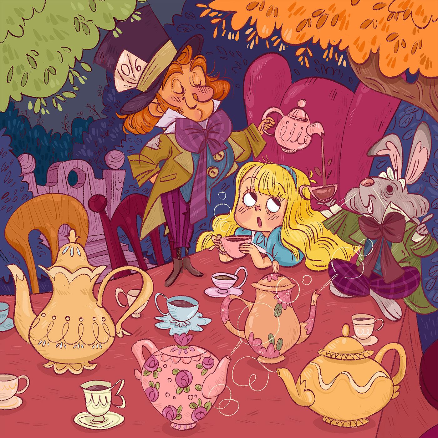 alcieinwonderland Madhatter Marchhare teaparty rabbithole ctaerpillar kidlit