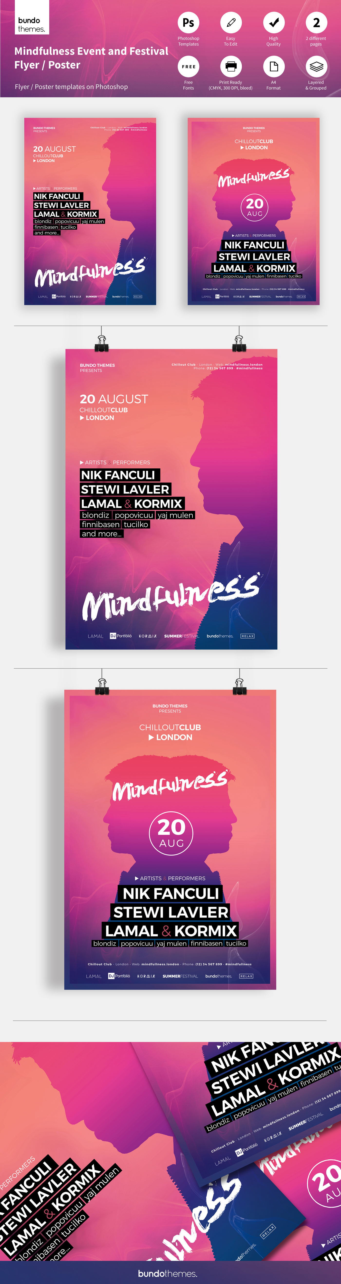 flyer template Event flyer mindfulness bundothemes poster trendy abstract colorful festival