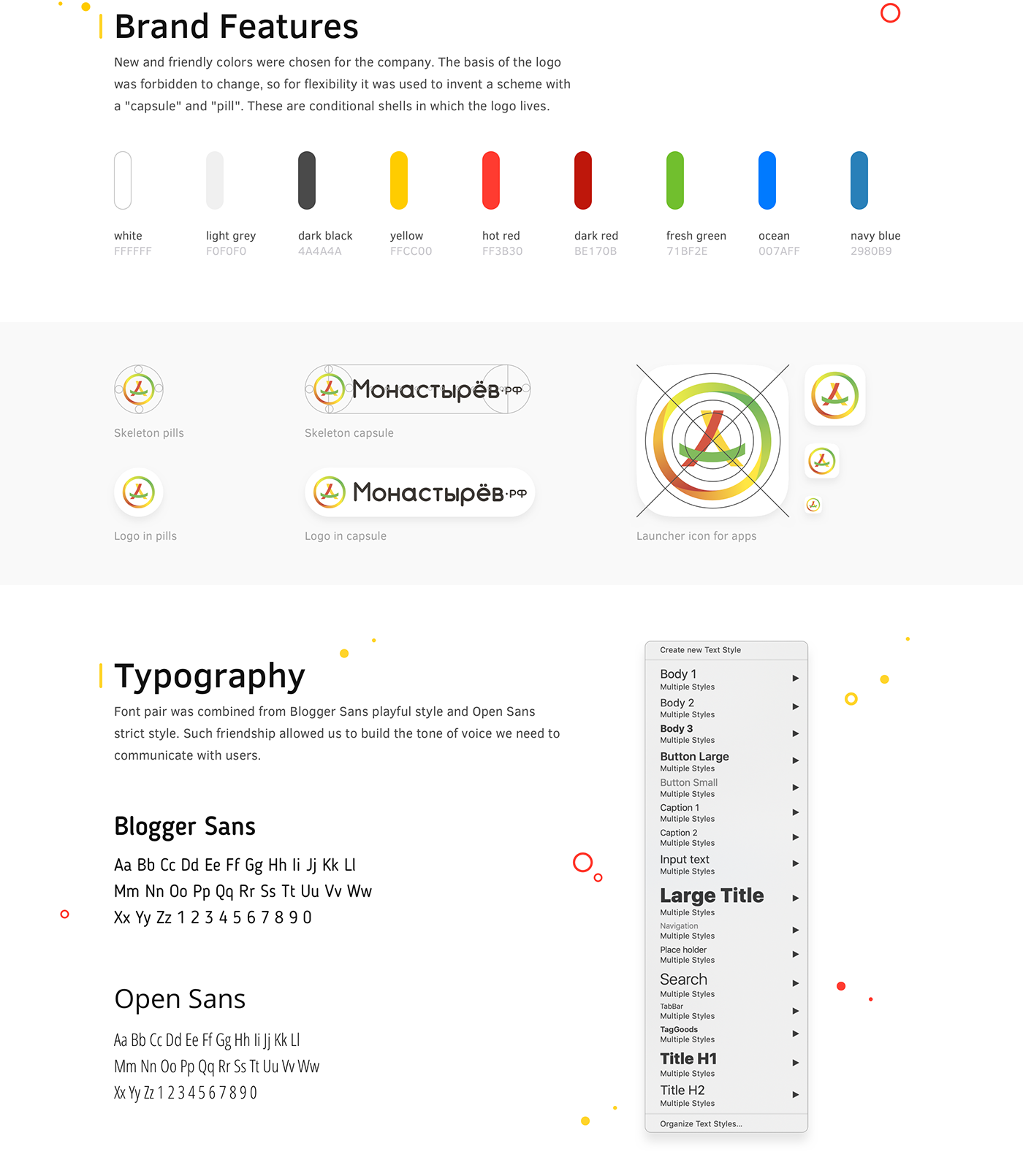 Brand Features, Typography and Color pack