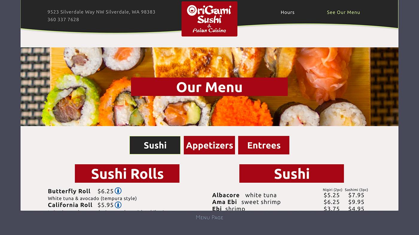 Origami Sushi menu in Silverdale, Washington, USA | 787x1400