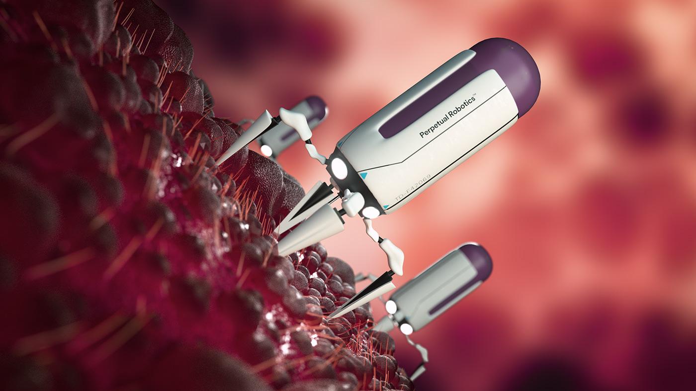 3D medical medicine Perpetual pharmacy robot robotics Cell motion design particles