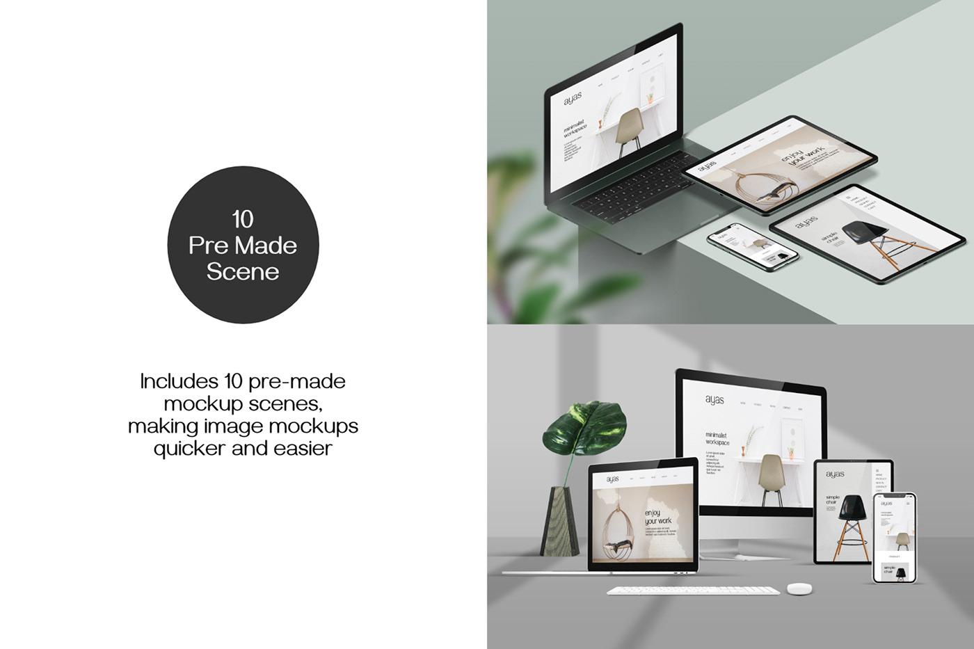 Apple devices Device Mockup iPad iphone macbook presentation mockup Responsive Screen Mockup Screen mockup UI UX design web showcase