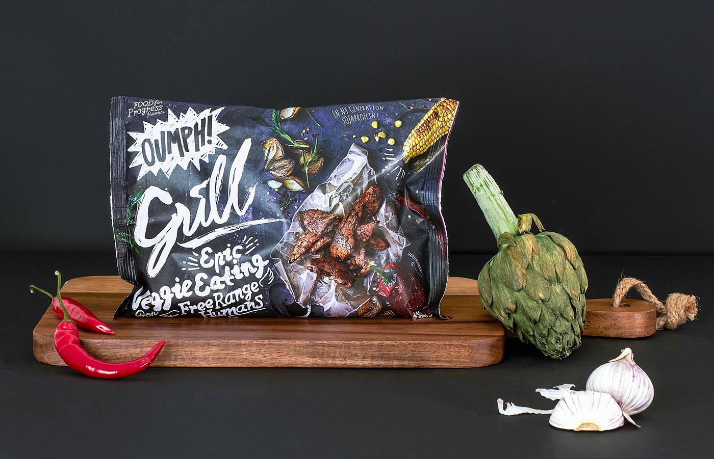 Food  handwritten handdrawn type brush black still life bags frozen vegan Veggie eco Sustainable soy