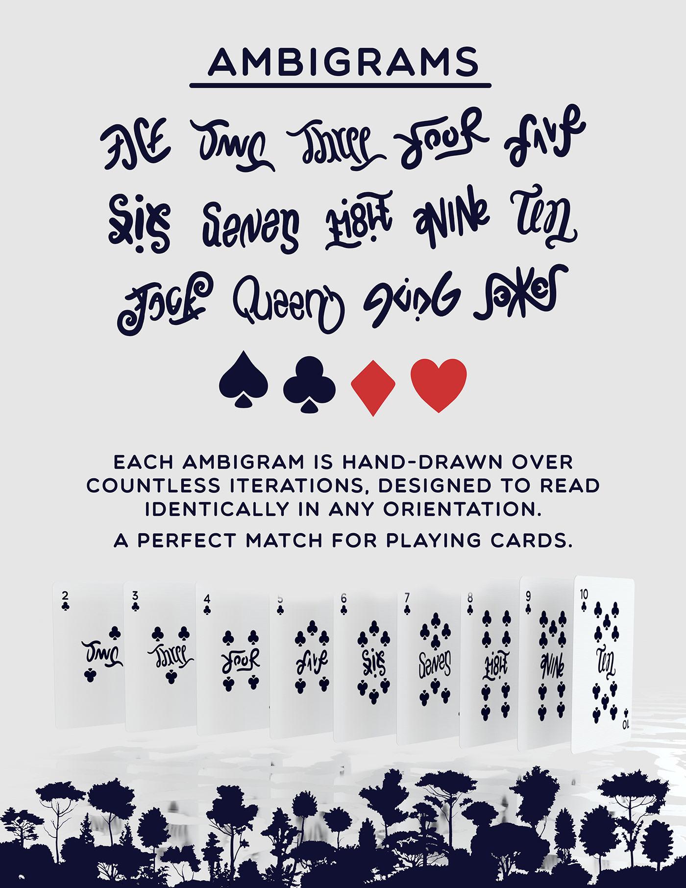 Amazon ambigram Illustrative minimal Playing Cards rainforest