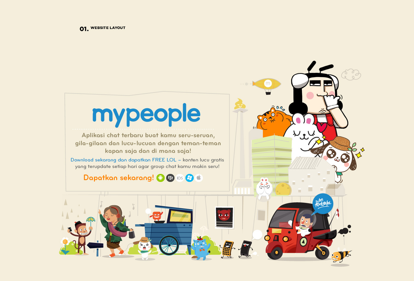 mypeople Chat app UI ux sticker Daum Rise Indonesia