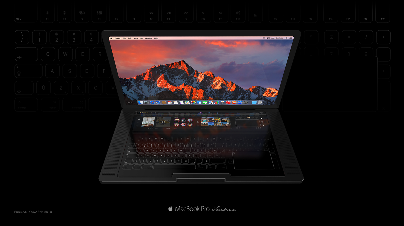 apple mac macbook pro touch keyboard apps on macbookpro concept