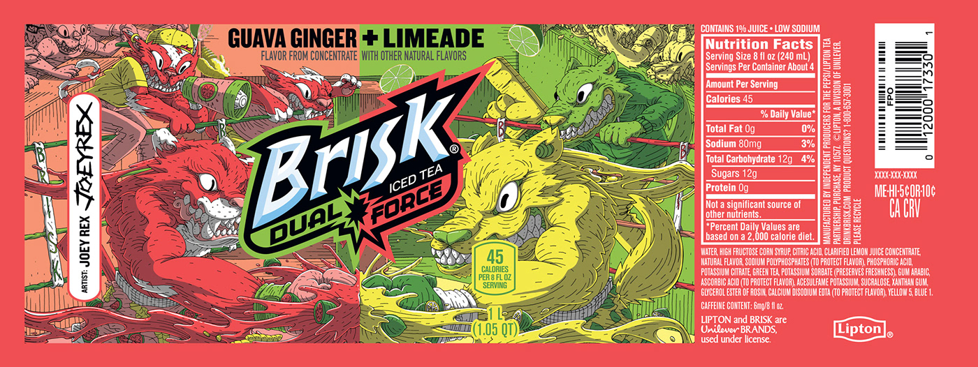 ILLUSTRATION  graphic design  lipton brisk tea bottle design Guava Ginger Limeade Dual Force
