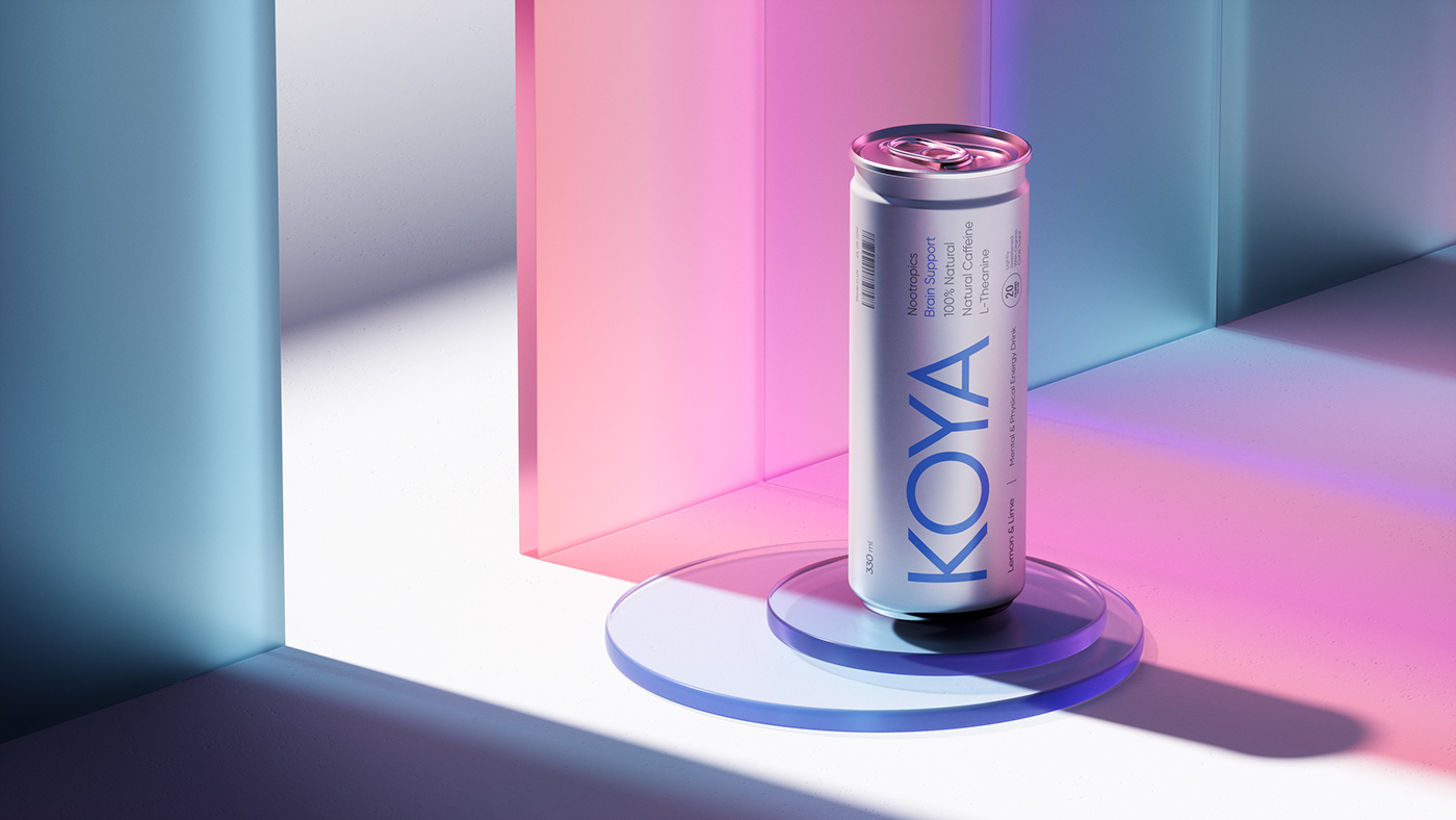 enegry drink Packaging neon miami color japan mental 3D Magic