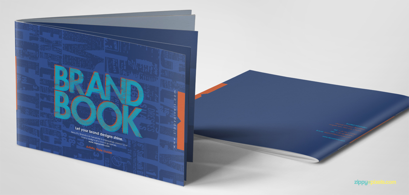 free brand book template cool blue on behance. Black Bedroom Furniture Sets. Home Design Ideas
