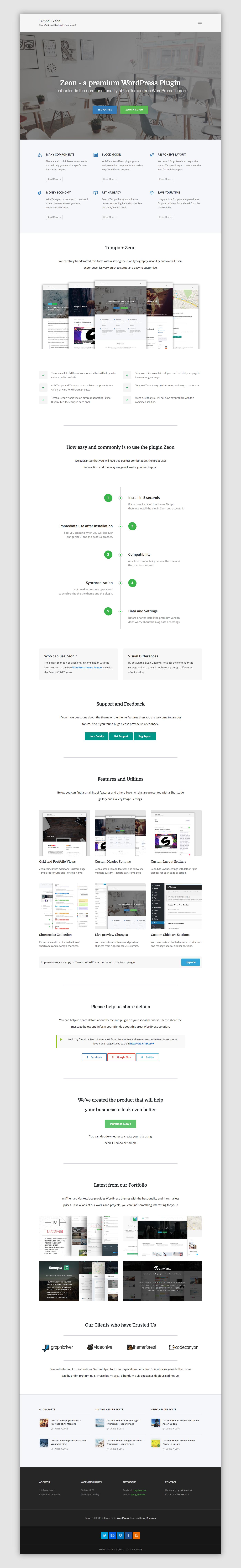 Tempo free WordPress Theme + Zeon WordPress Plugin