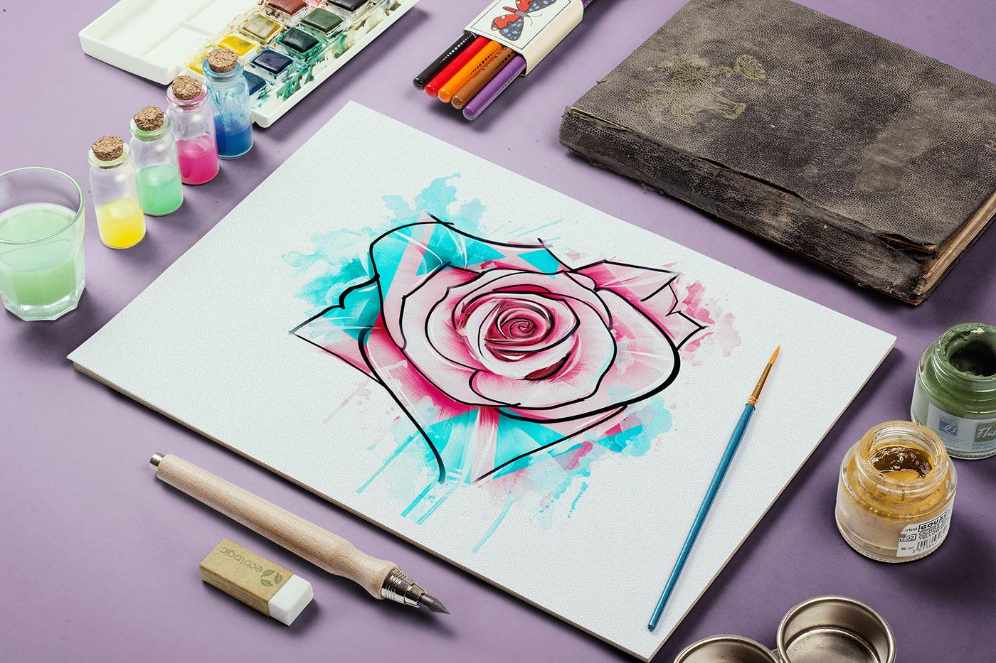 有創意感的19個玫瑰花水彩素描欣賞
