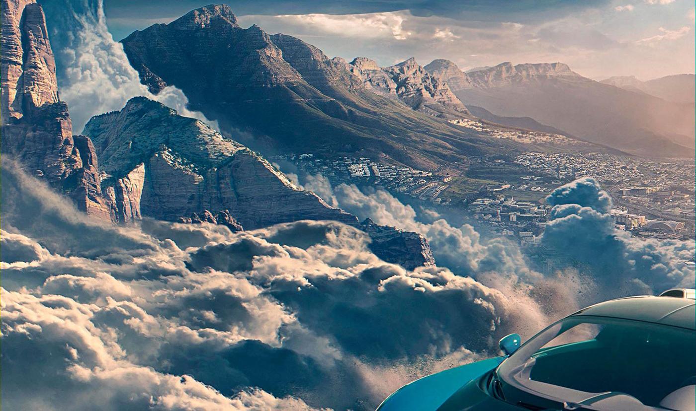 automotive   Matte Painting Landscape fantasy car CGI retouching  photoshop creative