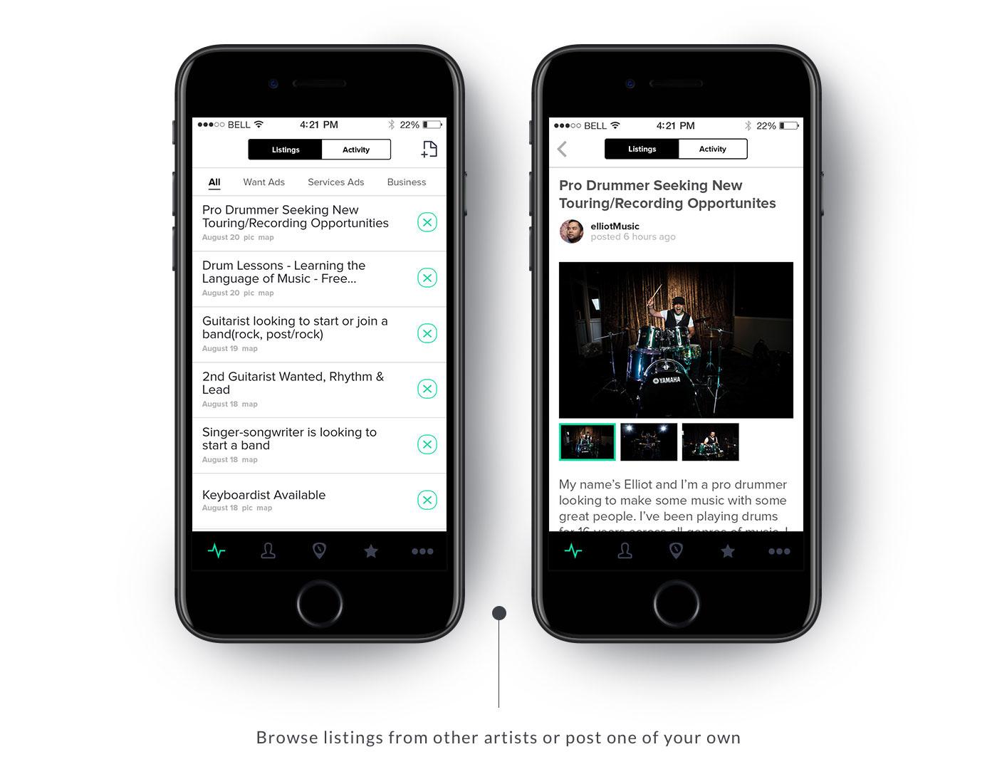 app design Mobile app music app jam compass ui design