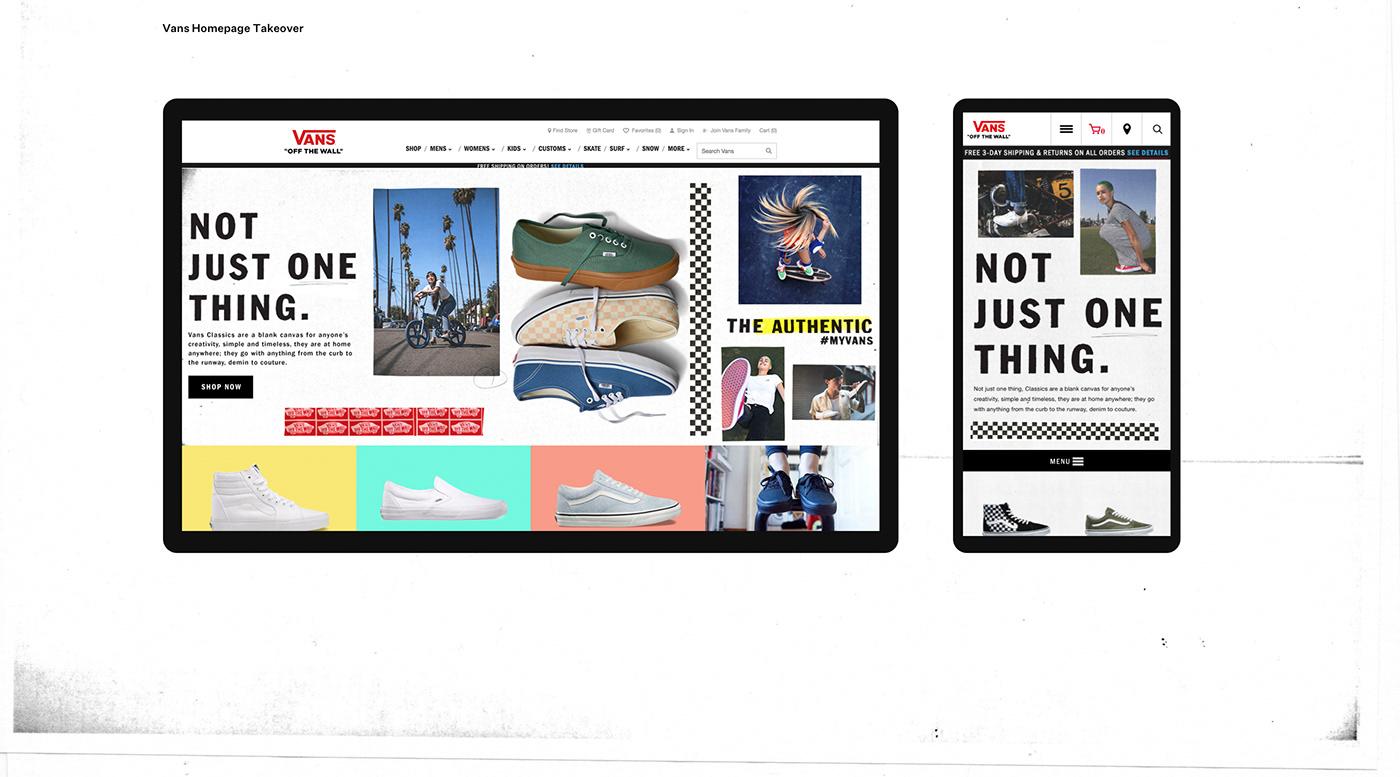 digital design interactive Web Design  graphic design  banners art direction  culture Vans UI ux