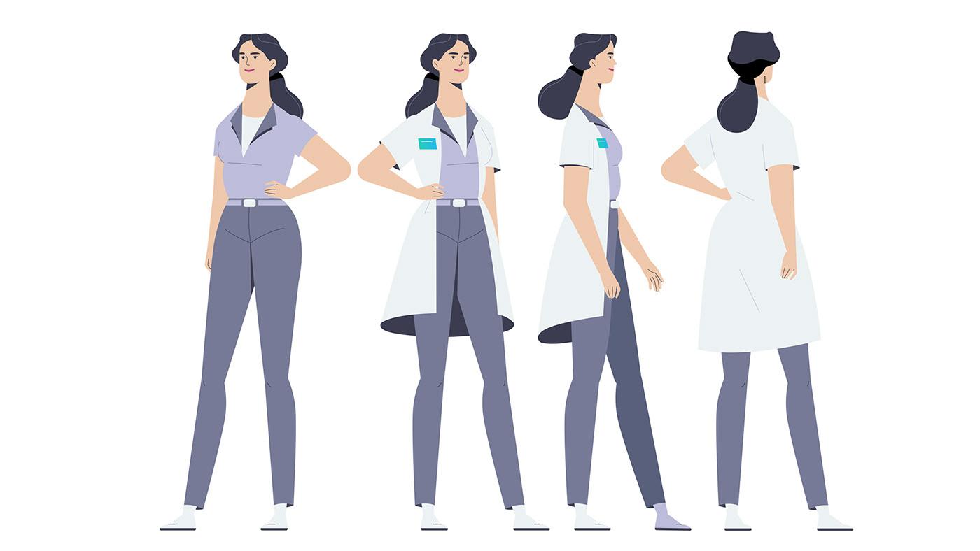 2D Animation Arthur Navet Audiospheric Character design  flat design Isometric laboratory maggle motion design science