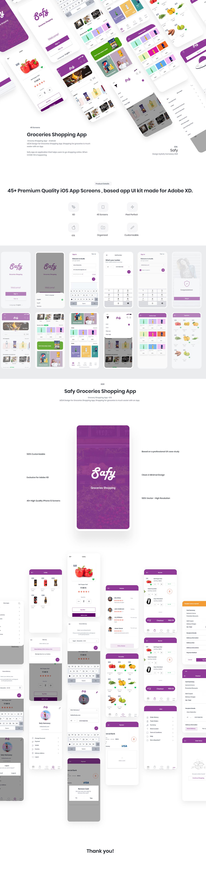 app free full Groceries Shopping App ios kit premium quality trend UI ux