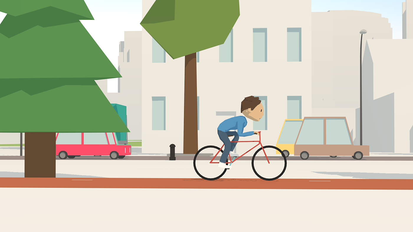 explainer animation Low Poly 3d animation springlab flo cyclists flat look cell shaded