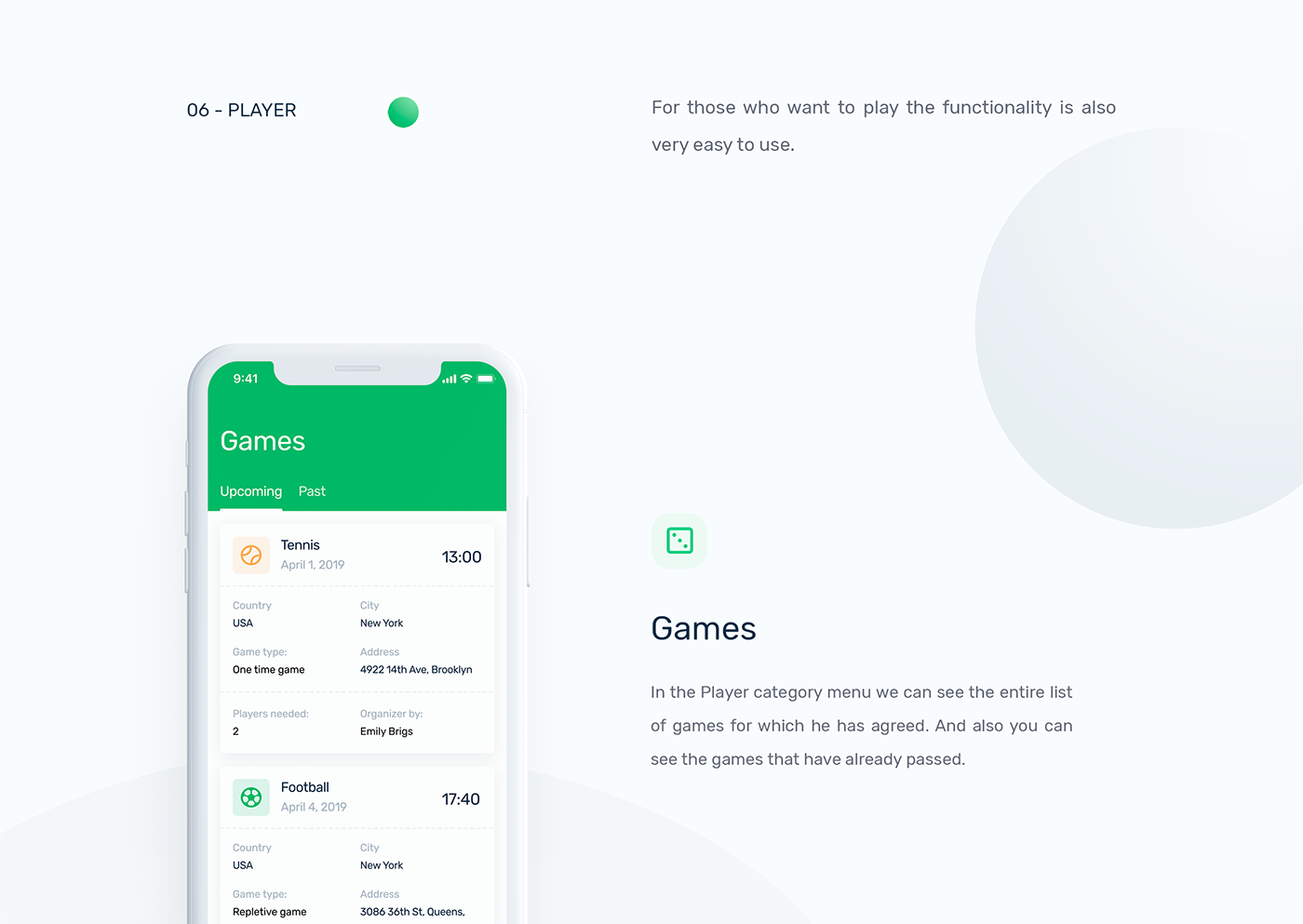 app mobile green sports application iphone ios wireframe user flow iPhone x