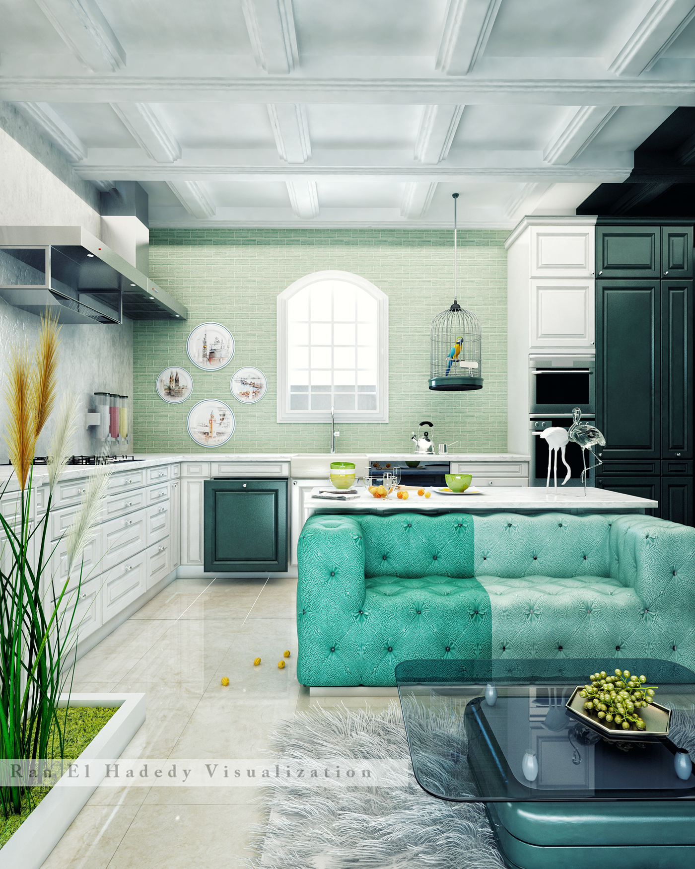 kitchen with soft seating on Behance