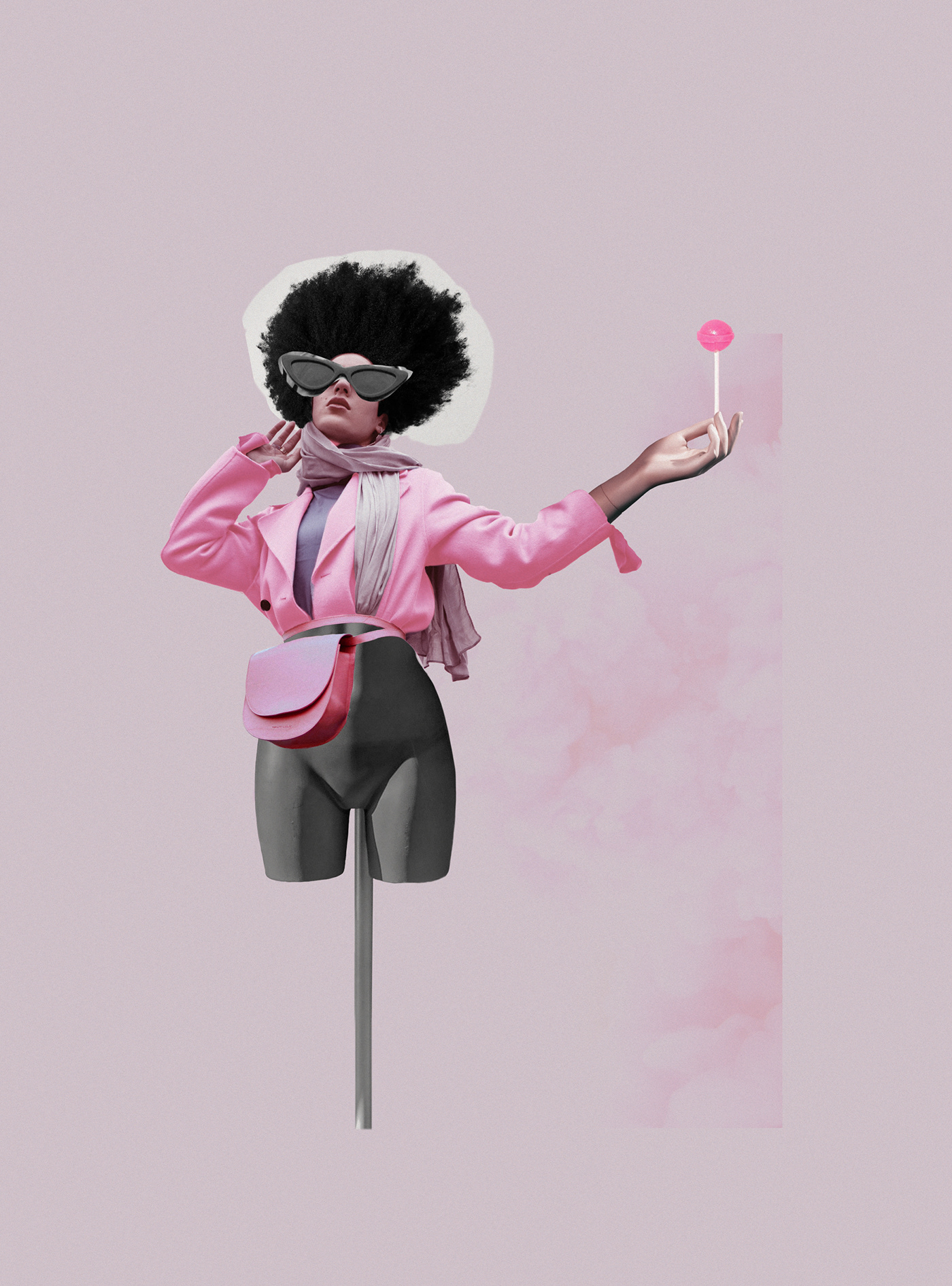 Digital Collage collage poster pink Fashion  editorial girly fake smile woman