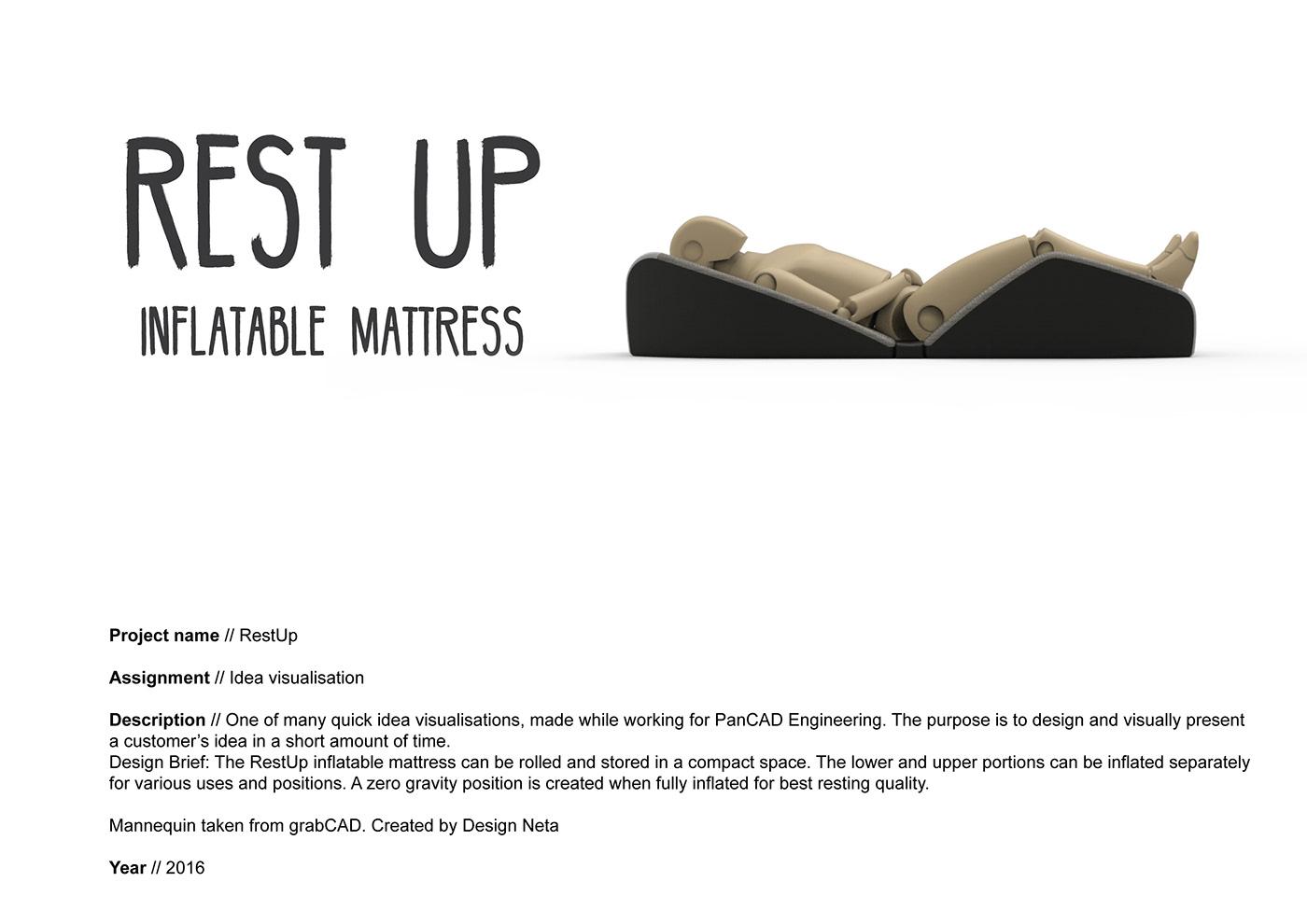 inflatable mattress ergonomic Zero Gravity visualisation