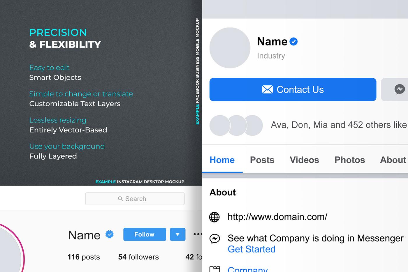 social media profile template preview Layout design Mockup mock-up facebook