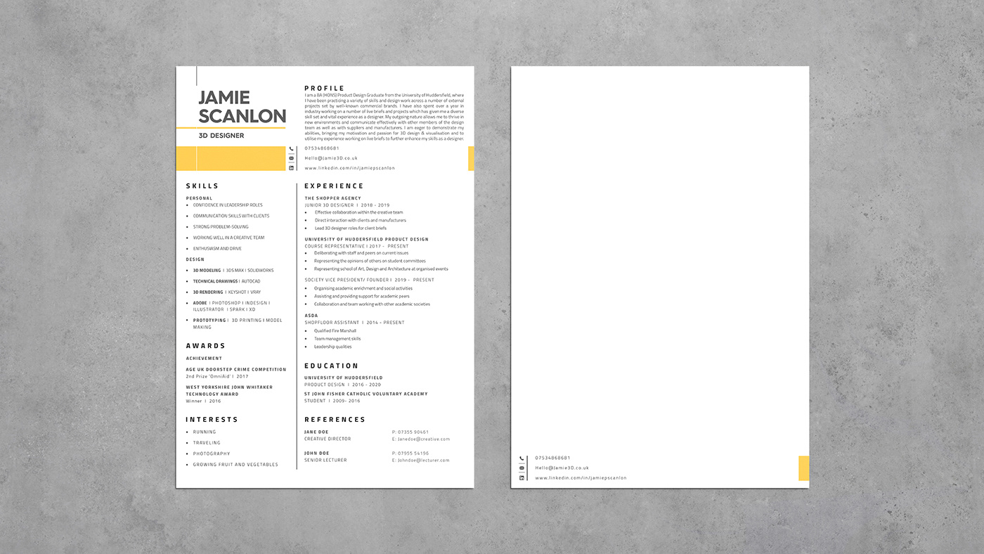 3d design brand branding  CV design graphic design  identity personal branding product design  Resume