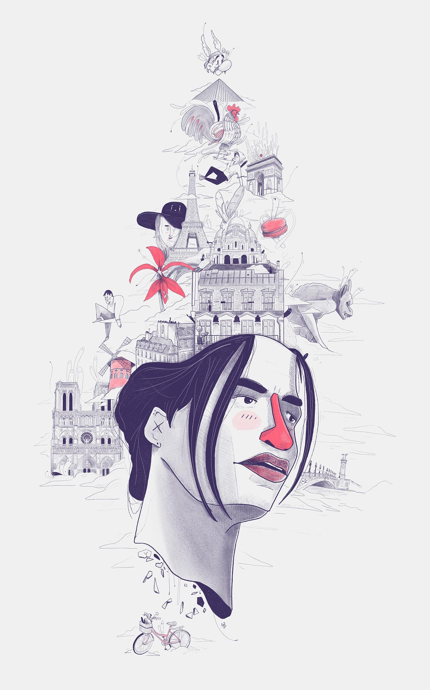 Board city decoration editorial icons ILLUSTRATION  Paris portrait