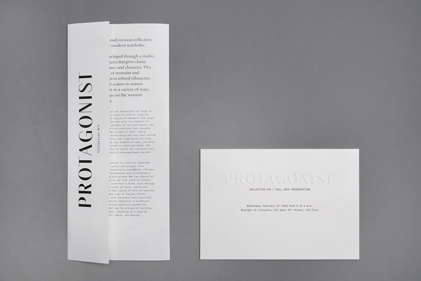 Protagonist collection n5 on behance design of the runway program vip invitation for the presentation of the collection n 5 fall 2015 by protagonist during the new york fashion week 2015 stopboris Images