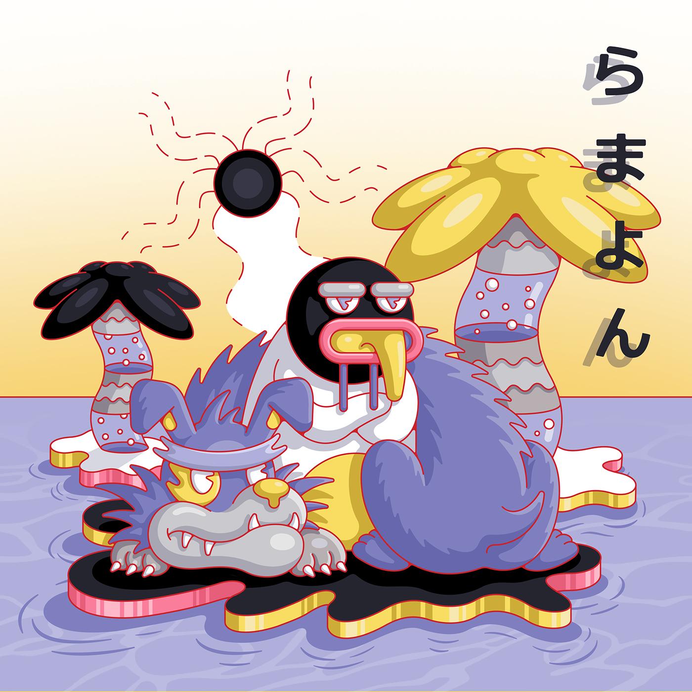 Pinguin melting heat Palm Tree dog floating Sunny cold gangster Island