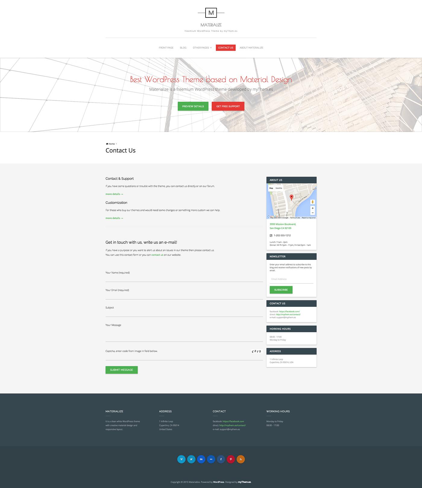 material design materialize Materializecss CSS Framework freemium wordpress creative clean White myThemes business portfolio Blog