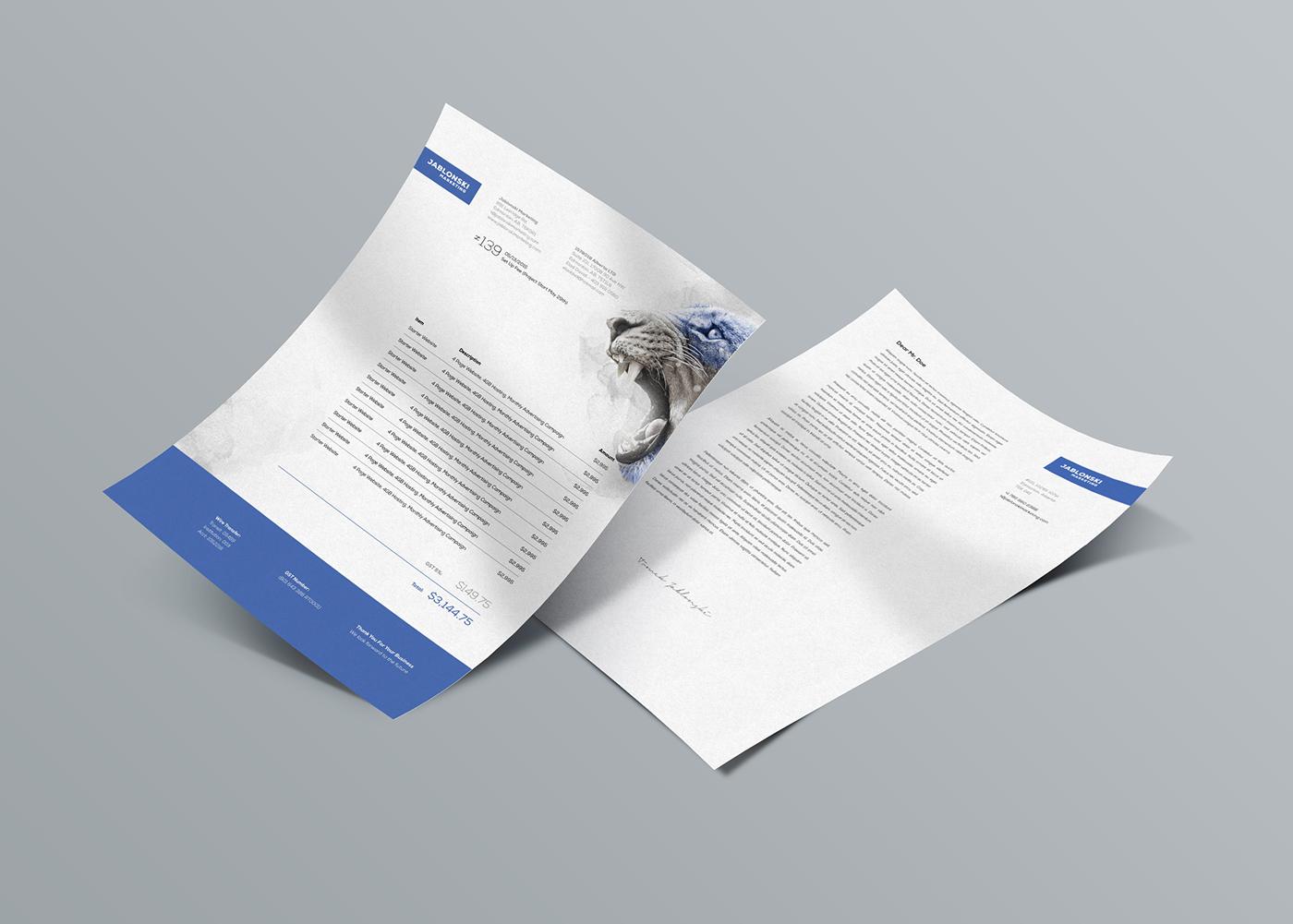 business card letterhead envelope folder marketing   logo poster wall Stationery t-shirt lion octopus deer bear bison
