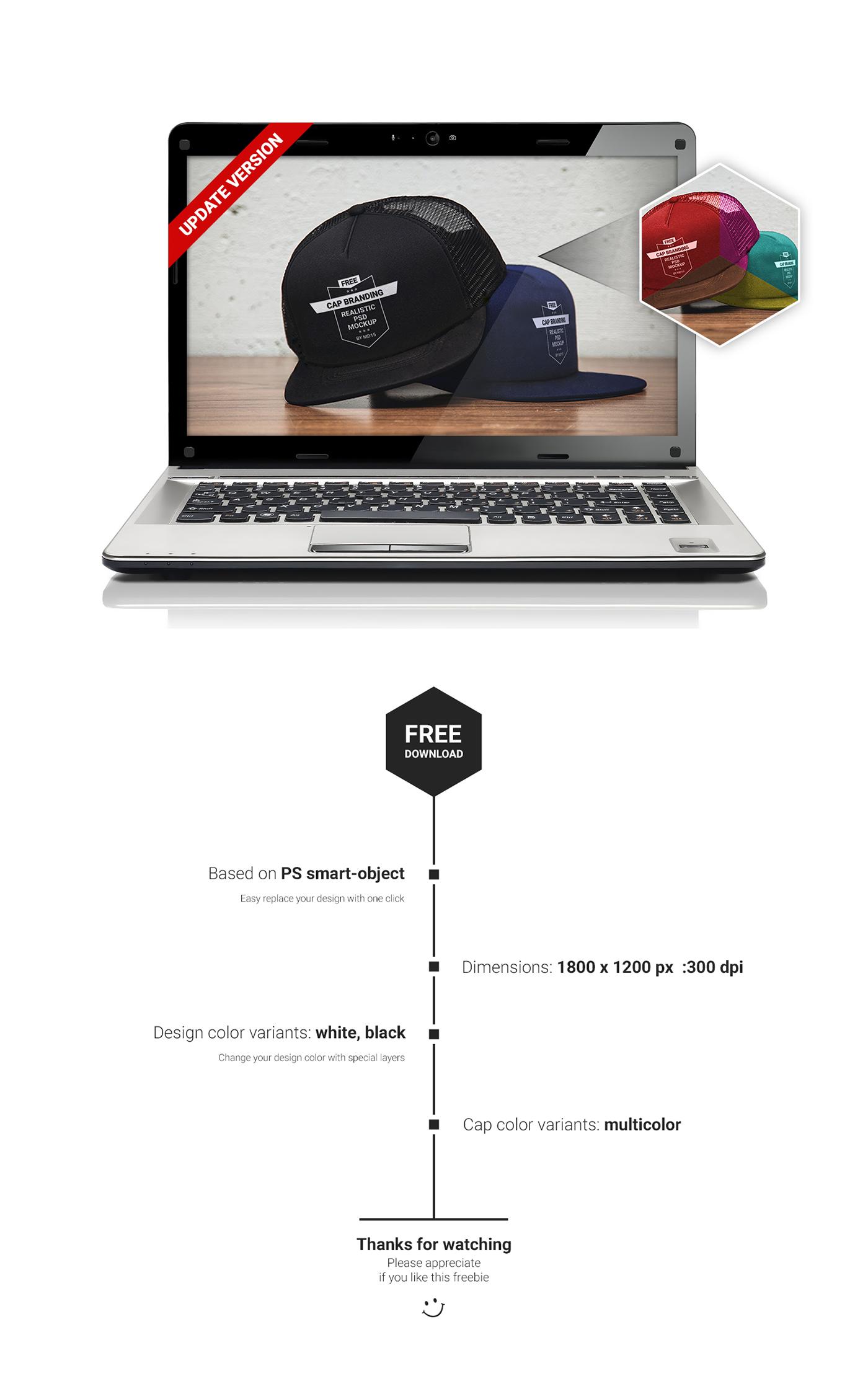 cap free psd Mockup logo branding  hat mock up design