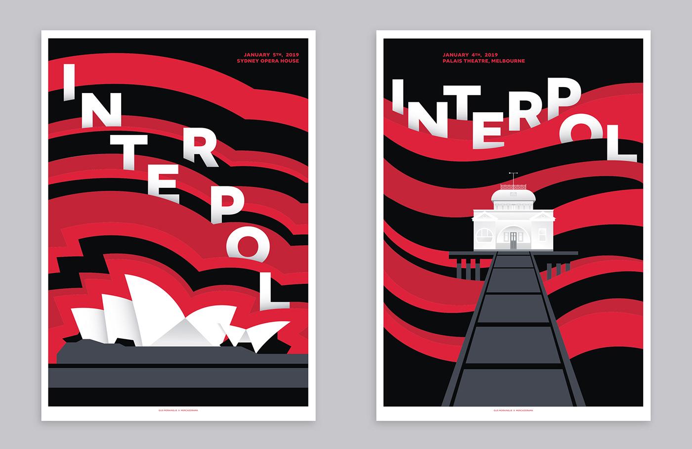 Australia GigPoster interpol Melbourne nyc Opera House poster screenprint sydney