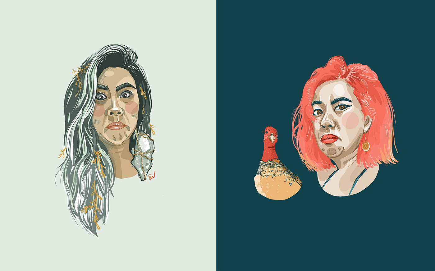 Duo of same woman. One with marine hair with leaves in it, the other with a chicken