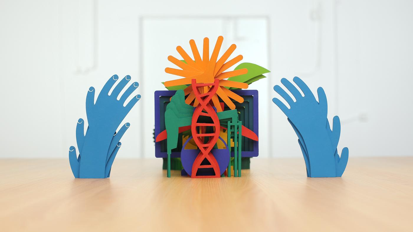 tactile tangible paper cut out stop motion tvc colors University Lasercut props set handmade papercraft