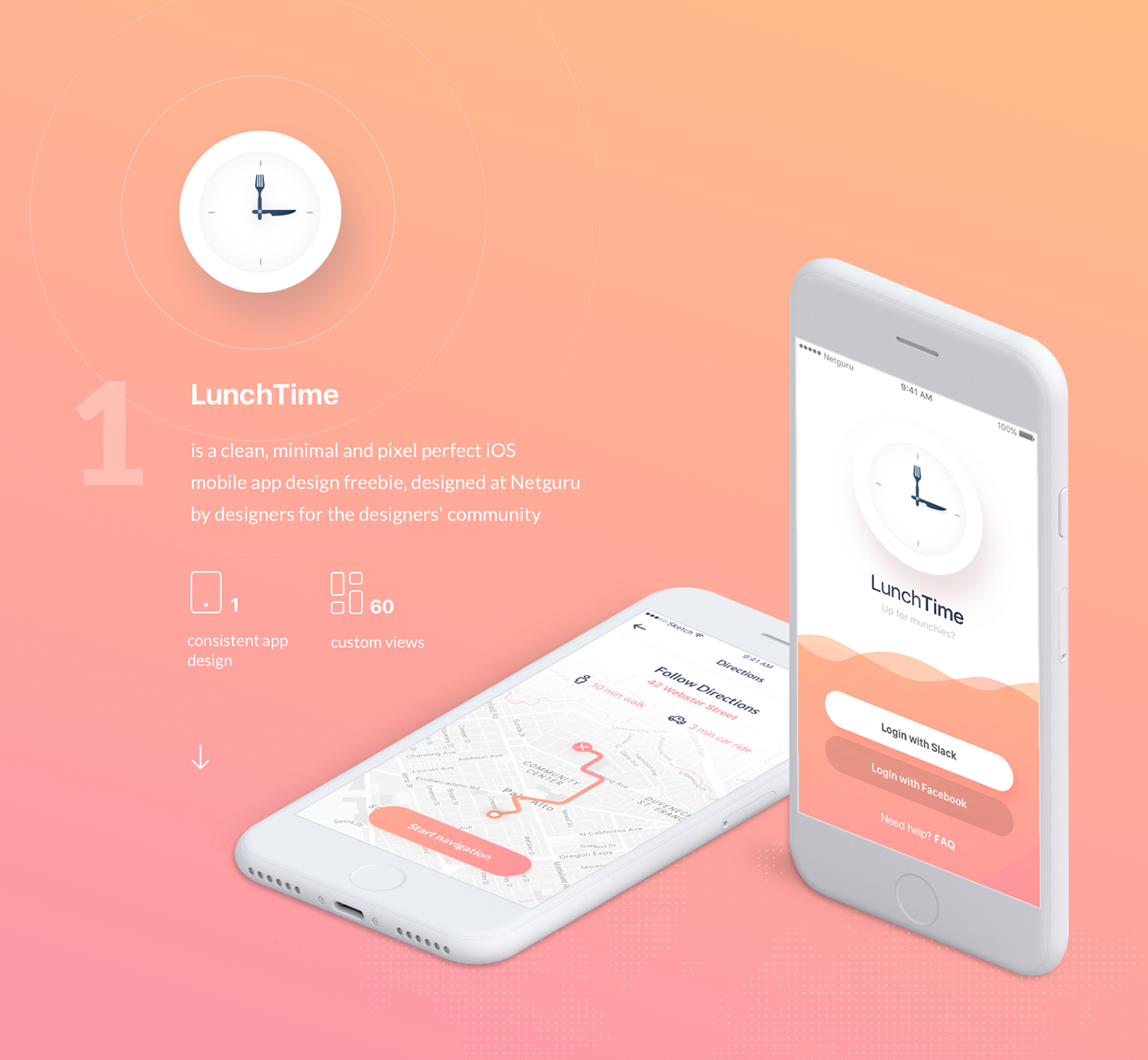 Lunchtime Mobile App Design Freebie On Behance