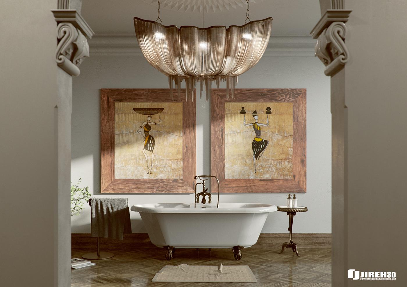 Corona C4D Scene files - African Classic Bathroom on Behance