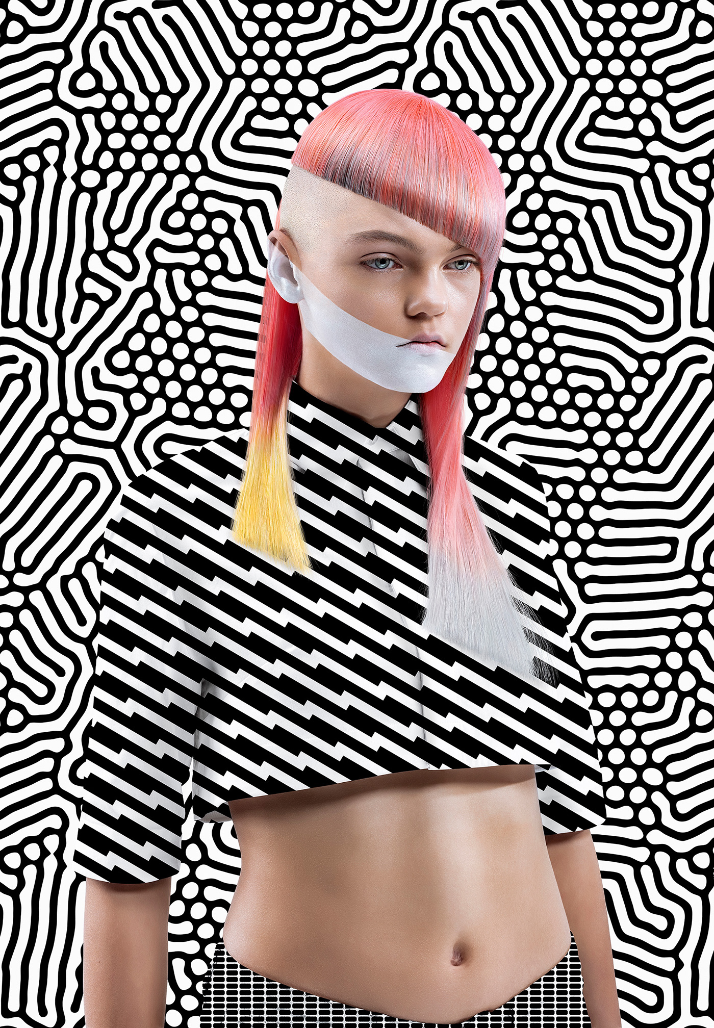 pattern haircolor hair Black&white Fashion  haircut graphic design  pink green yellow