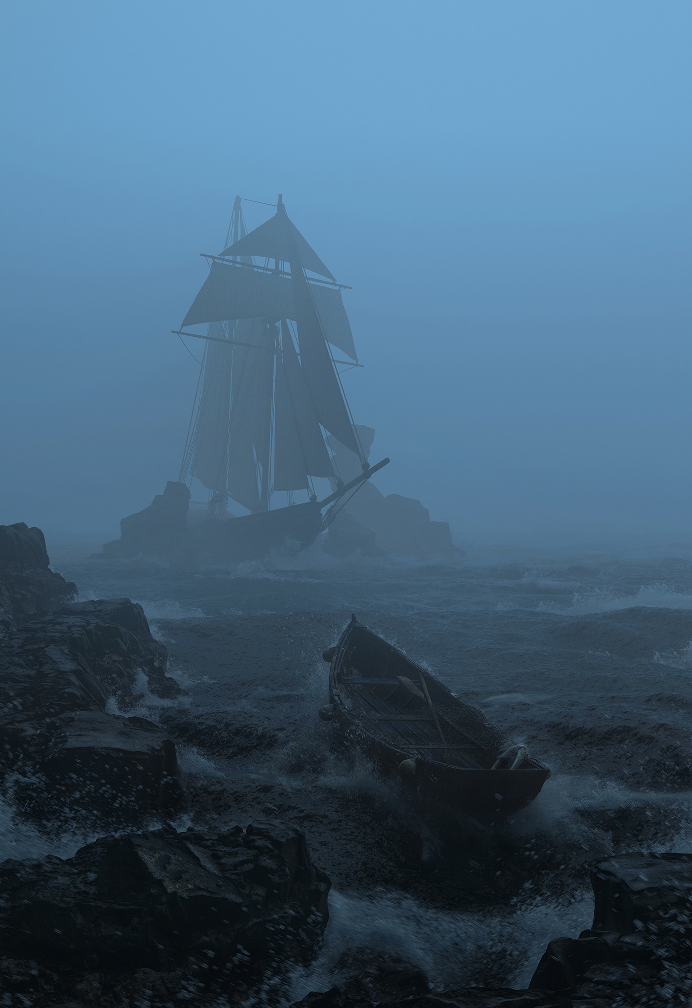 Image may contain: outdoor, ship and fog