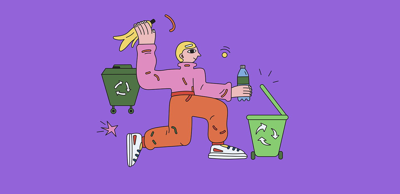 recycling Coca-Cola fresh water battery Ecology rubbish special needs Editorial Illustration bright colors limited palette
