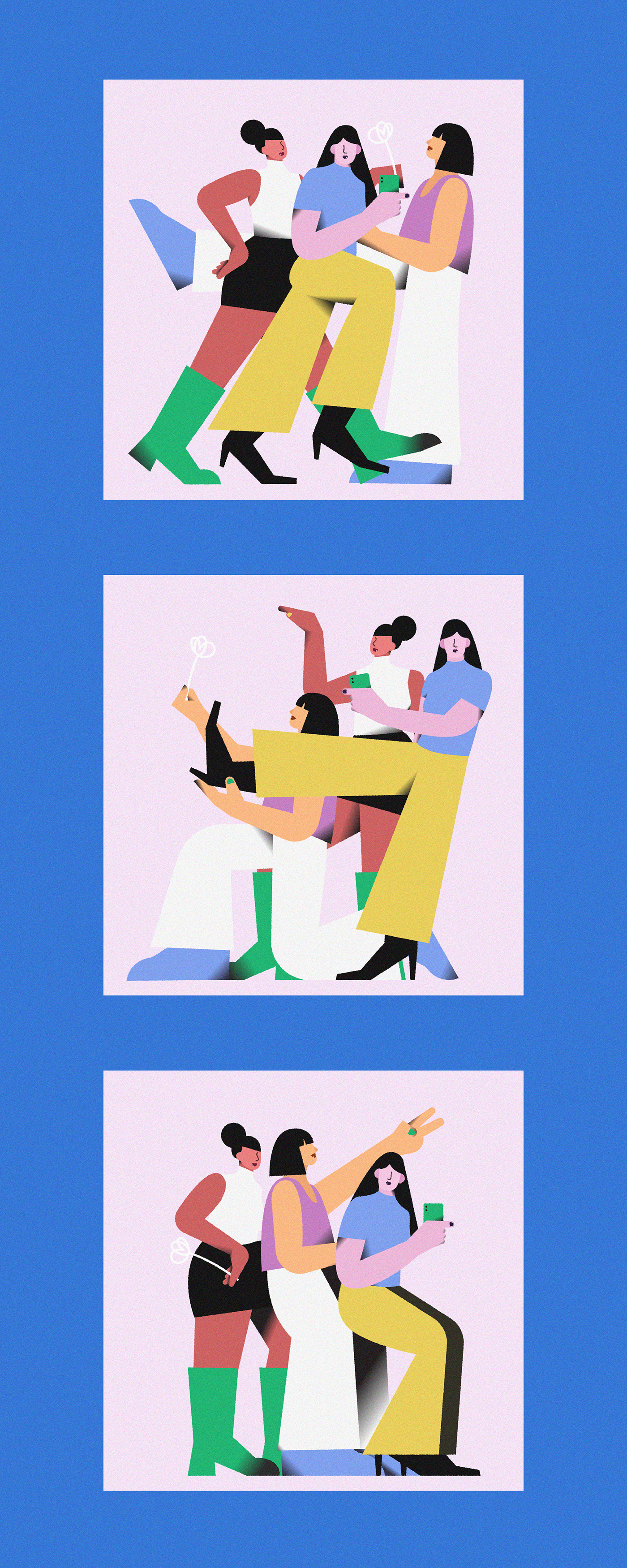 2D characters colorful girls ILLUSTRATION  life shapes stilllife