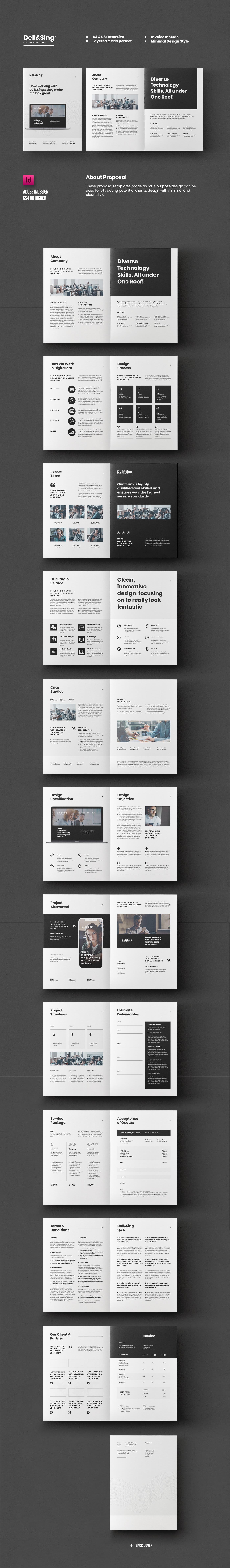 agency proposal digital proposal project proposal web design proposal studio design Studio Design Proposal Invoice Template Digital Design Template