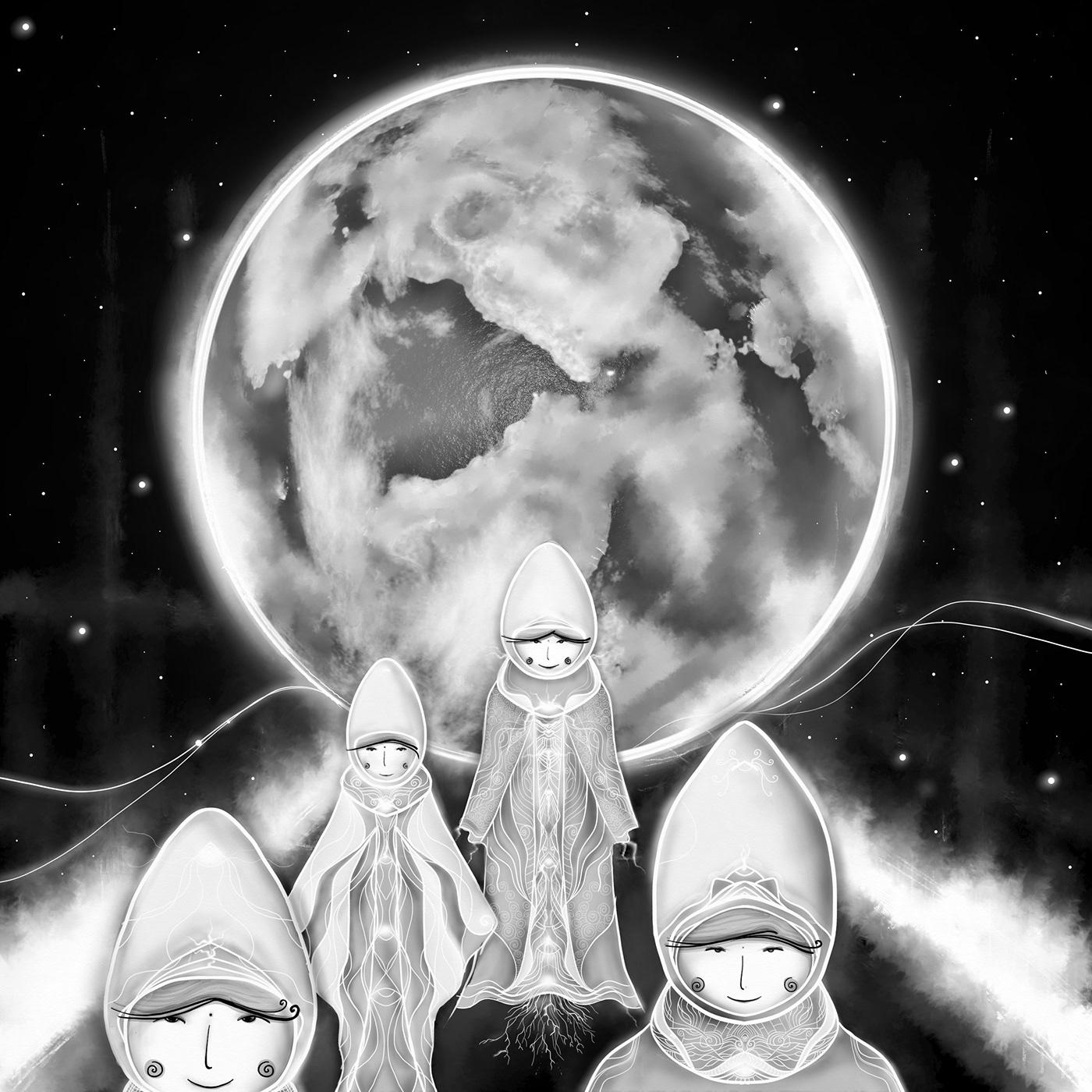 Image may contain: moon, cartoon and bubble