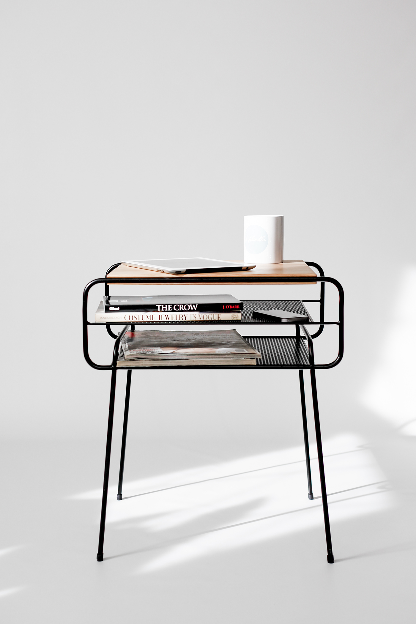Black Metal Bedside Tables: Double Nightstand Iron & Wood Series On Behance