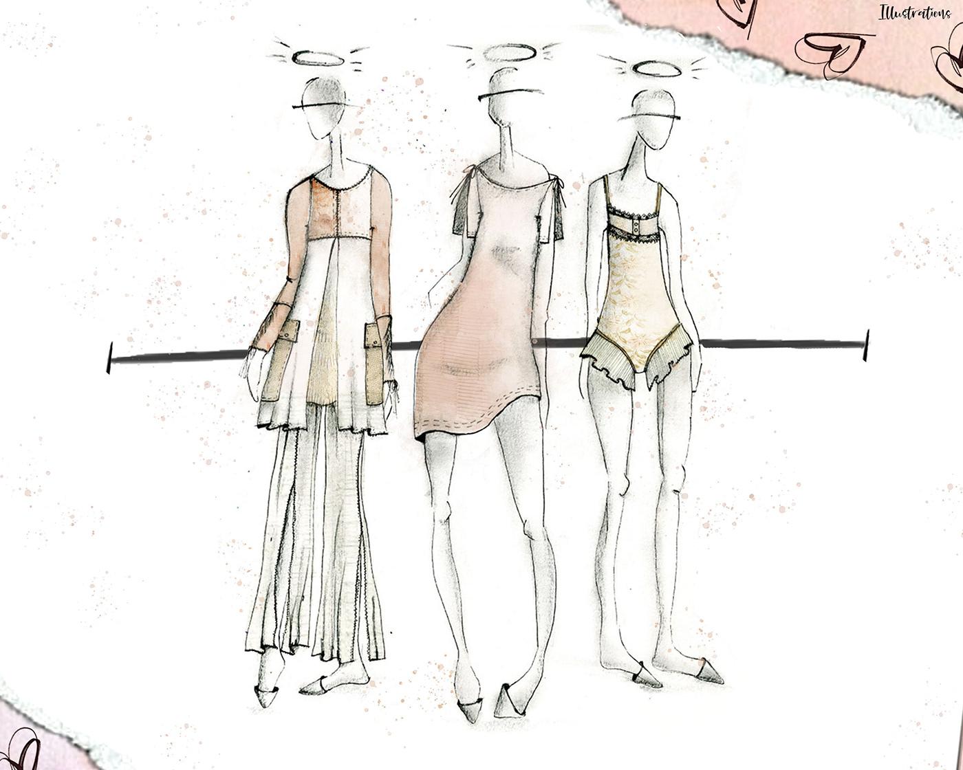 adaptive apparel adobe illustrator Adobe Photoshop fashion design fashion illustration hand rendering intimates lounge Scholarship project technical flats